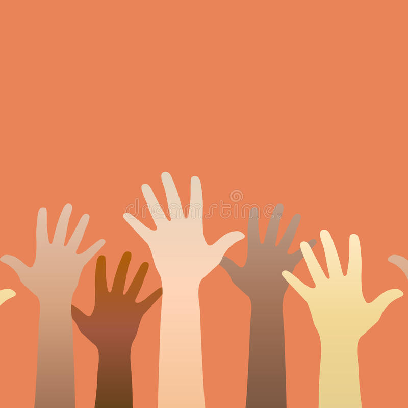 Händer som lyfts upp Begrepp av volunteerism, mång--och