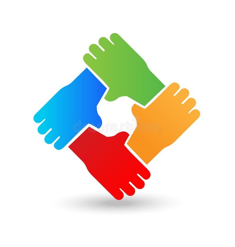 Händer som omfamnar sig, teamwork, enhet, fred, symbolsvektor stock illustrationer