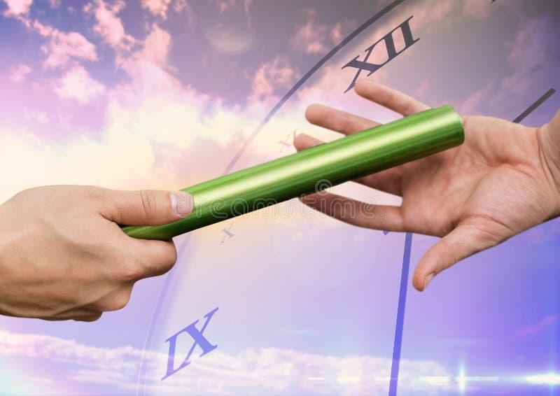 Händer som passerar taktpinnen mot digitalt frambragd bakgrund vektor illustrationer