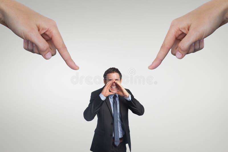 Händer som pekar på affärsmannen mot vit bakgrund royaltyfri foto