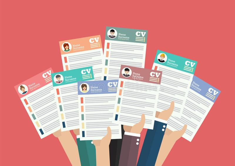 Händer som rymmer CV-meritförteckningdokument vektor illustrationer