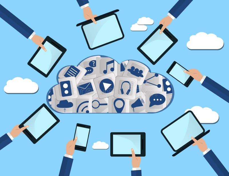 Händer som rymmer datorapparater, förbinder till modern molnservice Plan illustration royaltyfri illustrationer