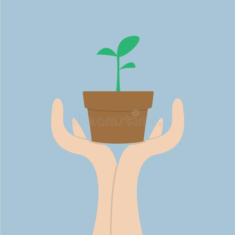 Händer som rymmer den lilla växten, tillväxtbegrepp vektor illustrationer