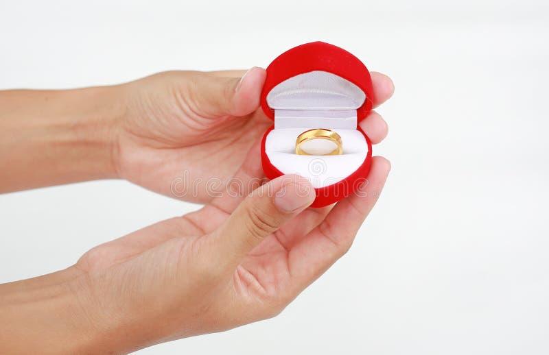 Händer som rymmer den röda gåvaasken med den guld- vigselringen som isoleras på vit bakgrund royaltyfria foton