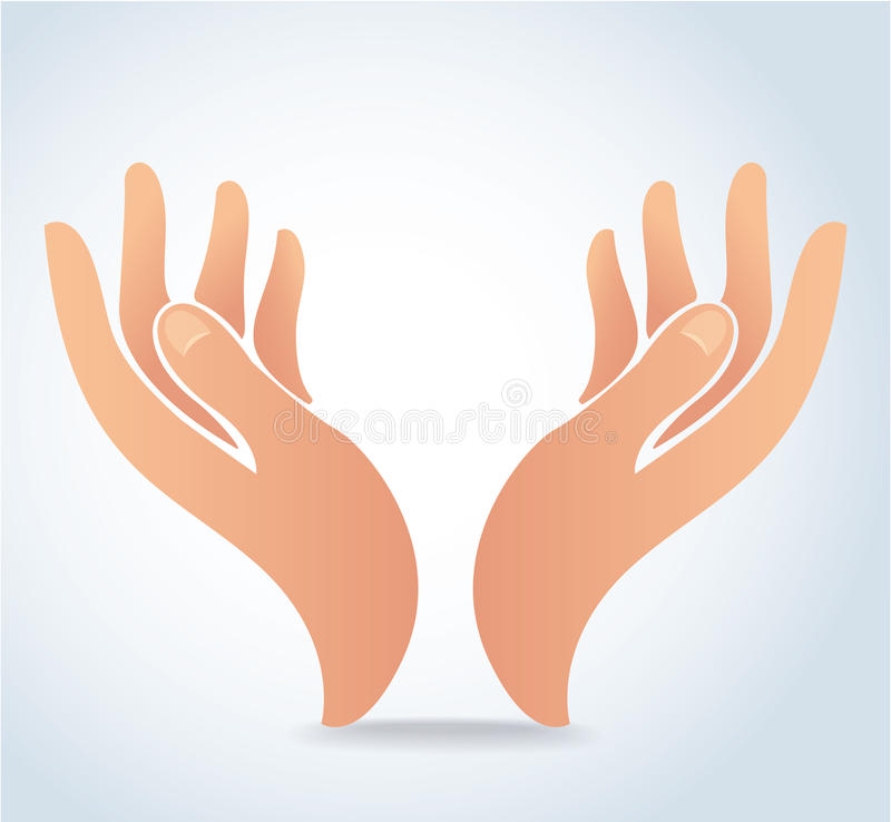 Händer som rymmer designvektorn, händer ber logo vektor illustrationer