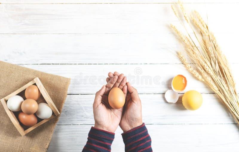 Händer som rymmer det bruna ägget på vit wood bakgrund royaltyfria foton