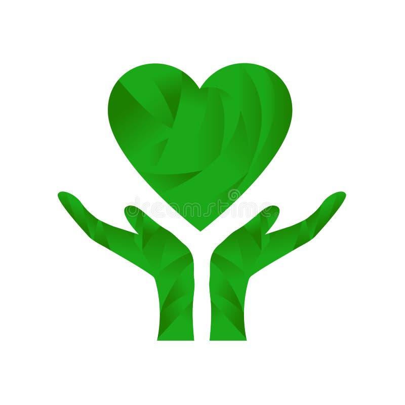 Händer som rymmer det gröna hjärtaEco begreppet stock illustrationer
