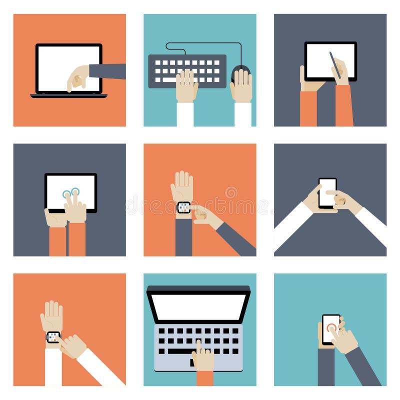 Händer som rymmer Digital apparater royaltyfri illustrationer