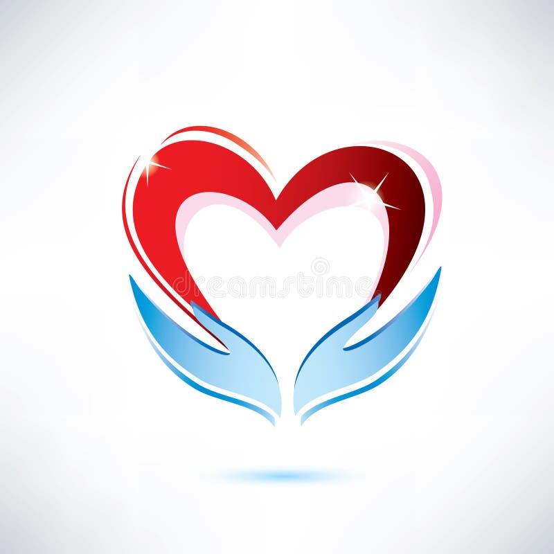 Händer som rymmer en hjärta stock illustrationer