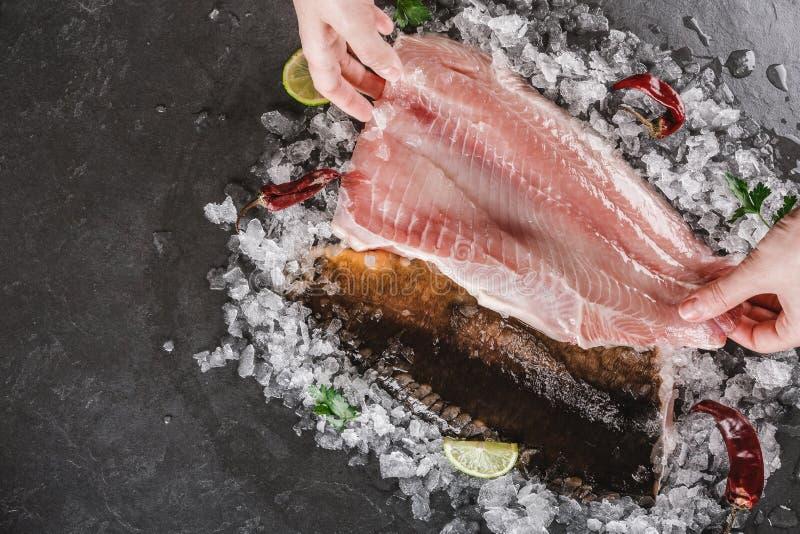 H?nder som rymmer en ny r? fil?fisk och den hela fisken med kryddor p? is ?ver m?rkerstenbakgrund Den havs- b?sta sikten, l?genhe royaltyfri fotografi