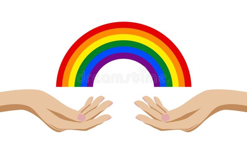 Händer som rymmer en regnbåge av färggemenskap samma, könsbestämmer på förbindelse royaltyfri illustrationer