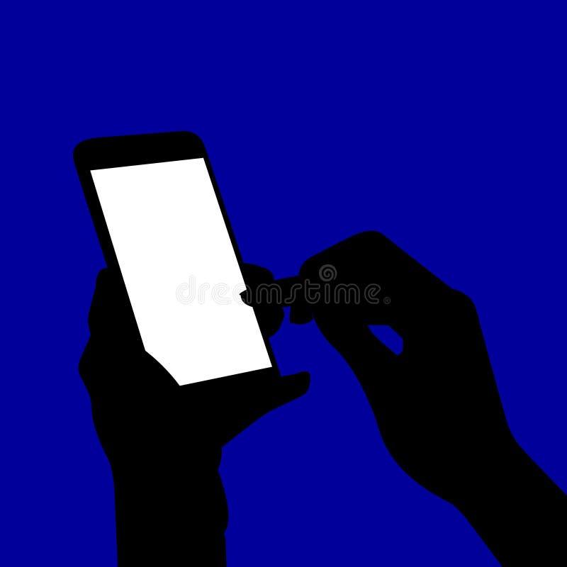 Händer som rymmer en smart telefonkontur royaltyfri illustrationer