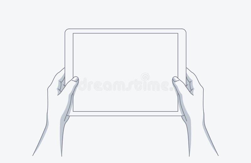 Händer som rymmer en tablet vektor illustrationer