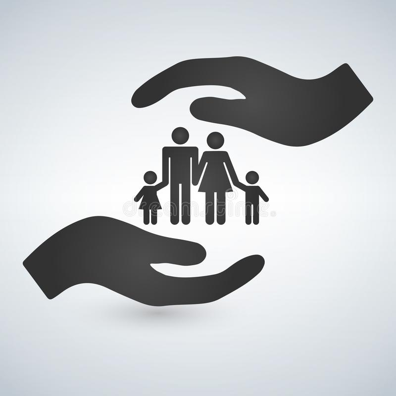 Händer som rymmer ett symbol av familjen Familjen skyddar symbolen vektor illustrationer