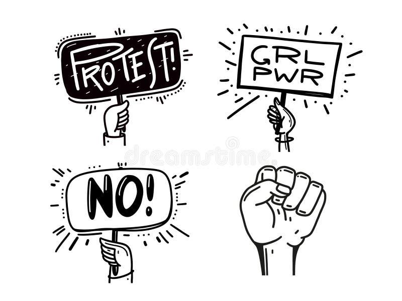 Händer som rymmer fastställda symboler för protest Politisk klok krisaffisch, nävar, revolutionplakat vektor illustrationer