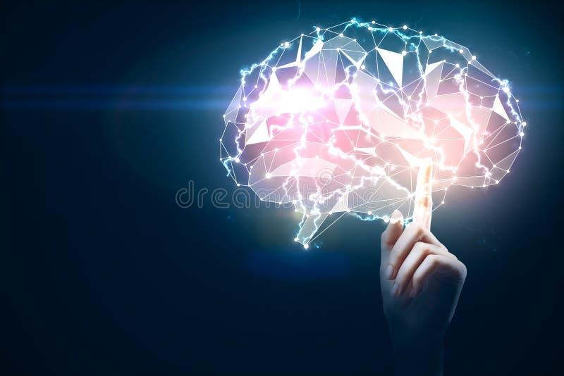 Händer som rymmer gloiwnghjärnan, teknologibegrepp royaltyfri illustrationer