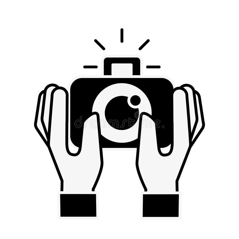 Händer som rymmer grejen för fotografisk kamera stock illustrationer