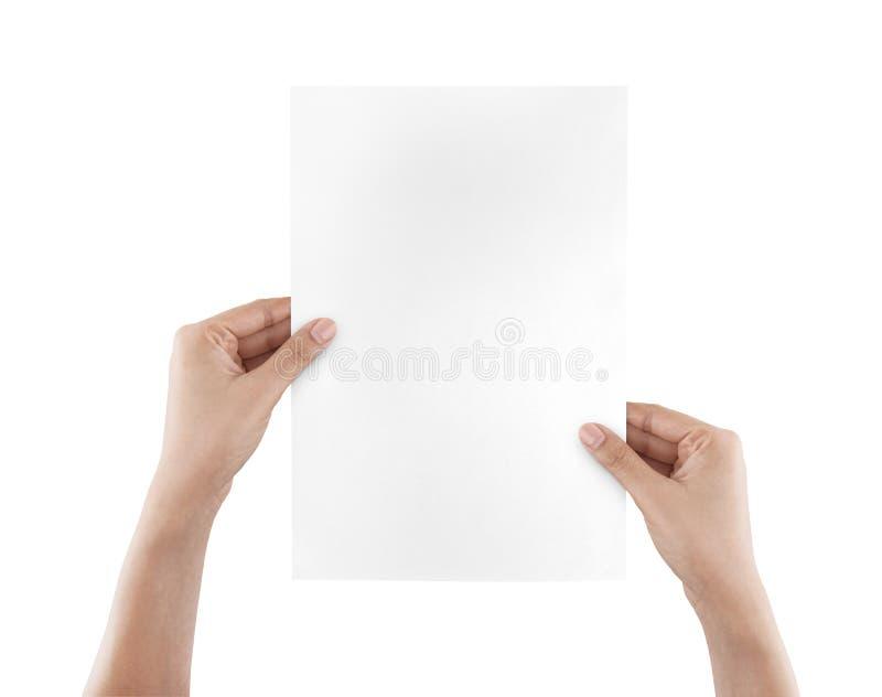 händer som rymmer isolerad paper white royaltyfria foton