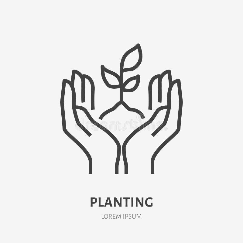 Händer som rymmer jord med den plana linjen symbol för växt Tunt tecken för vektor av miljöskydd, ekologibegreppslogo vektor illustrationer