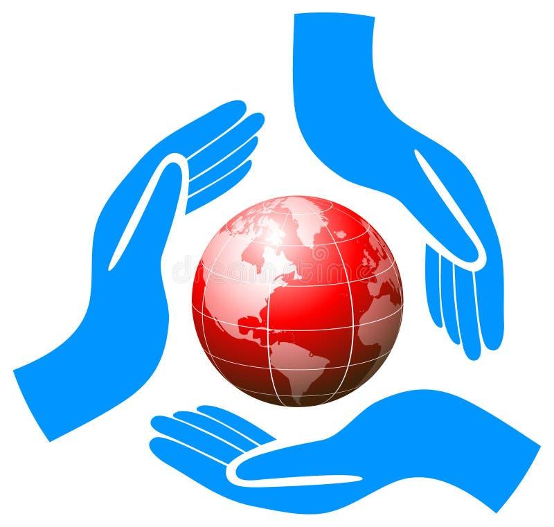 Händer som rymmer jordklotomsorglogo stock illustrationer