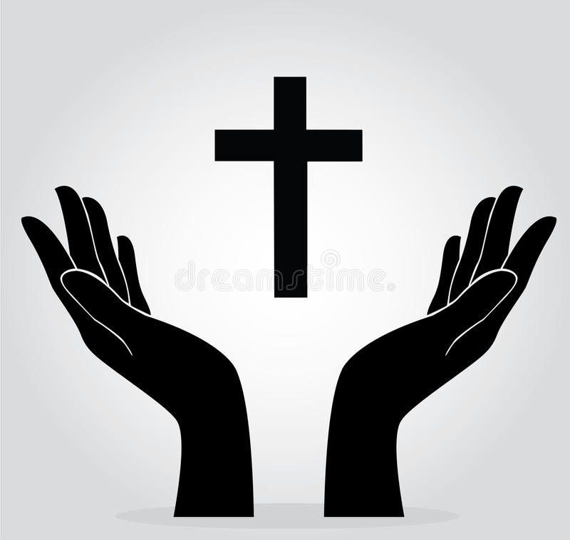Händer som rymmer korset royaltyfri illustrationer