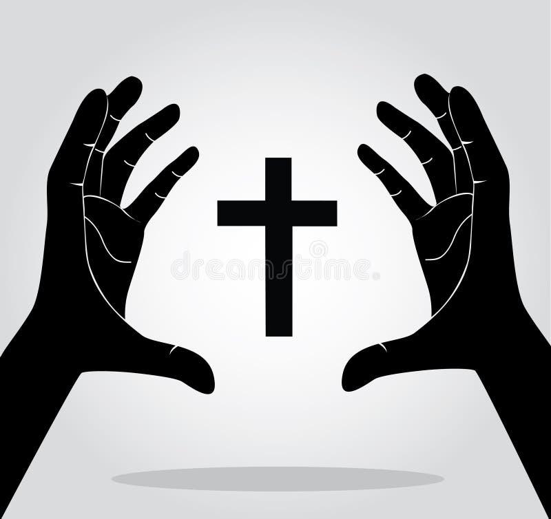Händer som rymmer korset vektor illustrationer