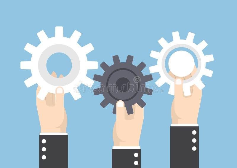 Händer som rymmer kugghjul- eller kuggehjulet, teamwork royaltyfri illustrationer
