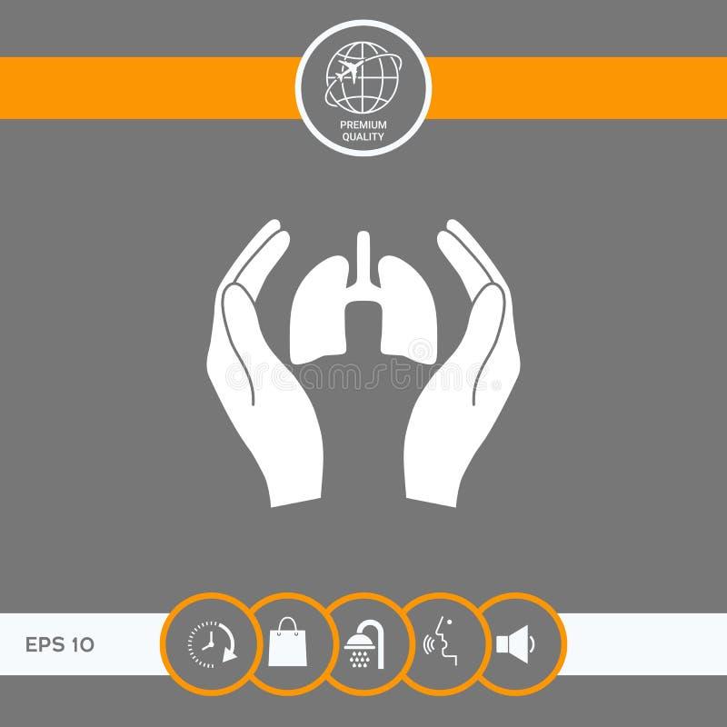 Händer som rymmer lungor - skyddssymbol vektor illustrationer