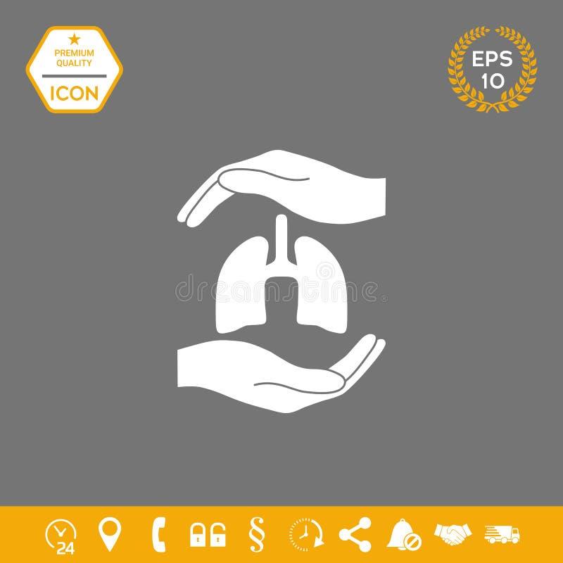 Händer som rymmer lungor - skyddssymbol Grafiska beståndsdelar för din design stock illustrationer