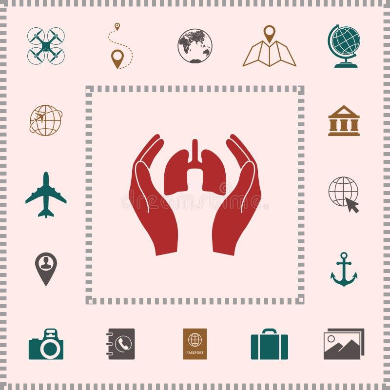 Händer som rymmer lungor - skyddssymbol symboler för designelementgalleri som mer min pictograms please, ser för att besök ditt stock illustrationer