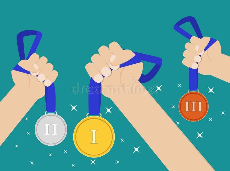 Händer som rymmer medaljen vektor illustrationer