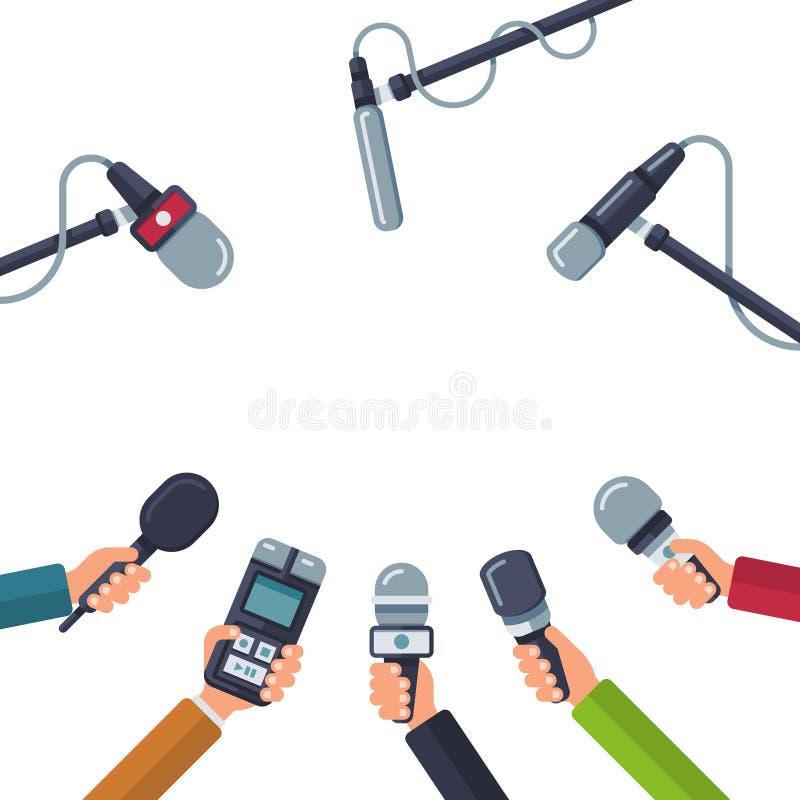 Händer som rymmer mikrofoner, presskonferensvektorbegrepp royaltyfri illustrationer