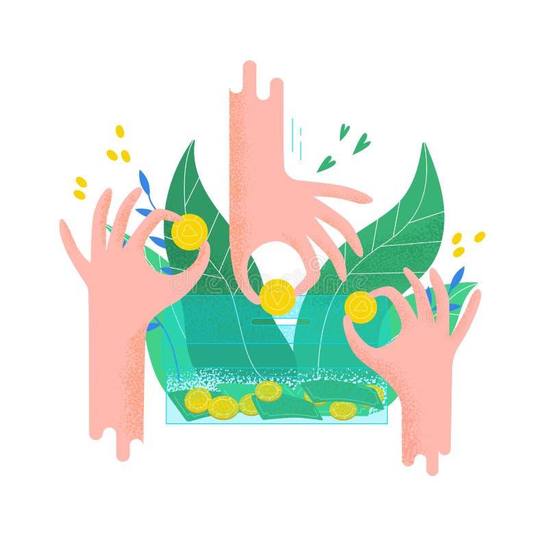 Händer som rymmer mynt och sätter dem in i sparbössan Begrepp av välgörenhetprojektet, donationservice, fundraising program royaltyfri illustrationer