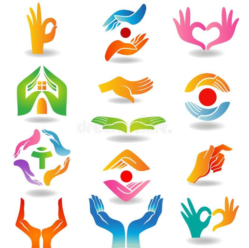 Händer som rymmer och skyddar royaltyfri illustrationer