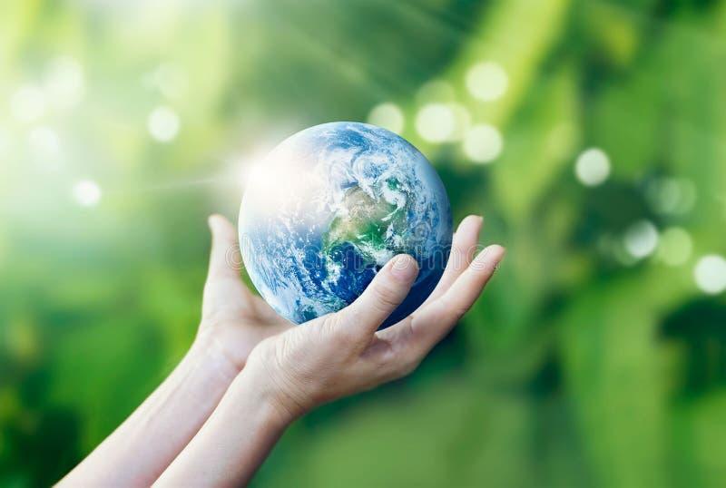 Händer som rymmer och, skyddar jord på naturbakgrund royaltyfria foton