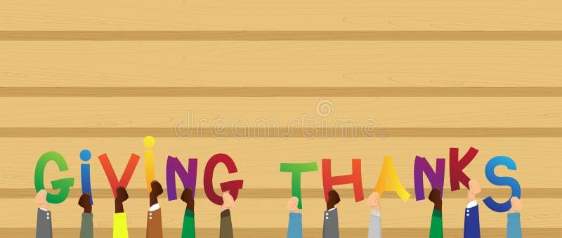 Händer som rymmer ordet som ger tack vektor illustrationer