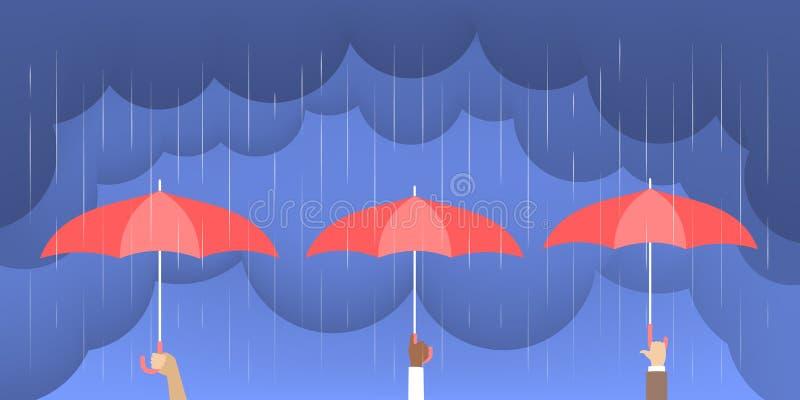 Händer som rymmer paraplyet under hällregnet vektor illustrationer