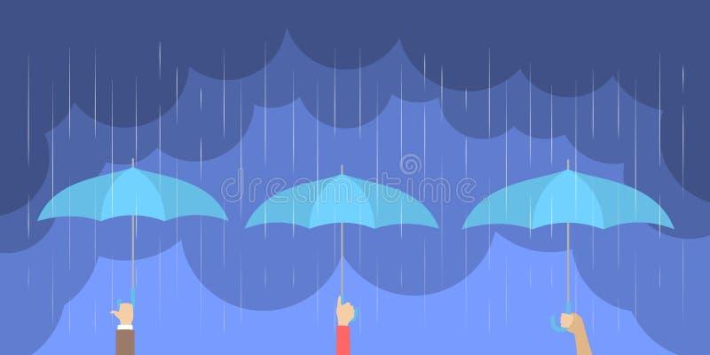 Händer som rymmer paraplyet under hällregnet royaltyfri illustrationer