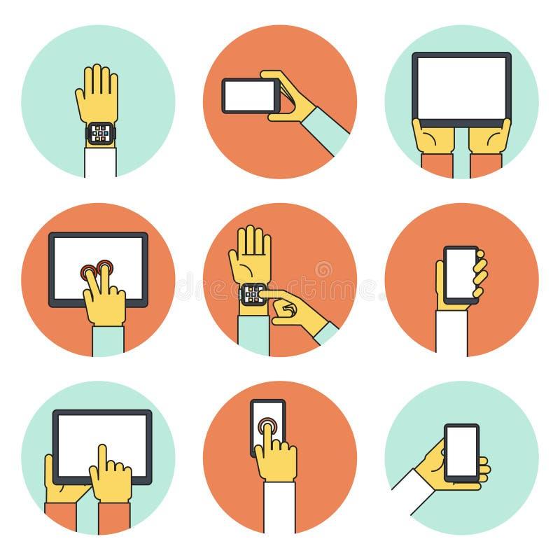 Händer som rymmer pekskärmapparatsymboler stock illustrationer
