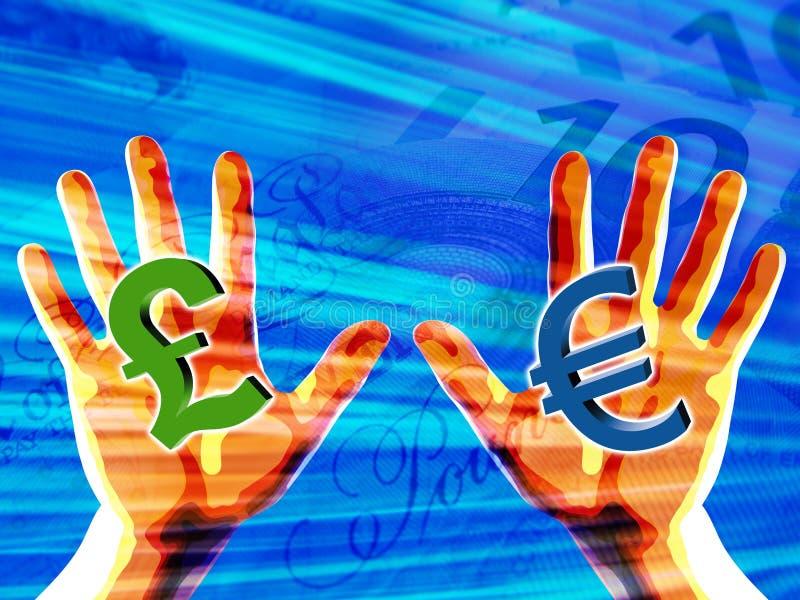 händer som rymmer pengarsymboler vektor illustrationer