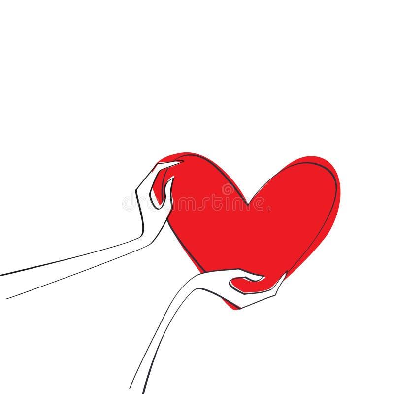 Händer som rymmer röd hjärta för förälskelsesymbol Förälskelse och tack royaltyfri illustrationer