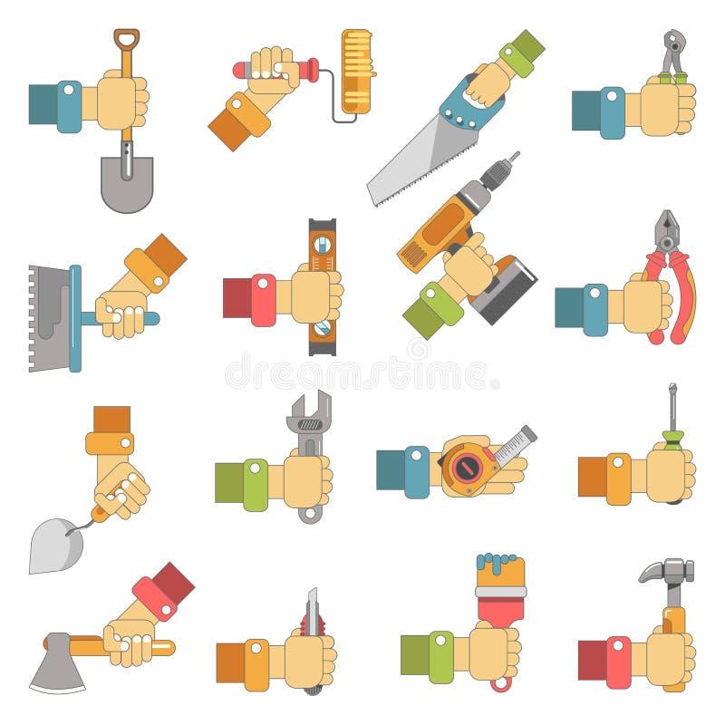 Händer som rymmer symboler för lägenhet för vektor för hjälpmedel för reparationssnickeriarbete, ställde in royaltyfri illustrationer