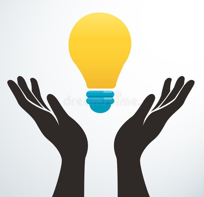 Händer som rymmer symbolsvektorn för ljus kula, idérikt begrepp stock illustrationer