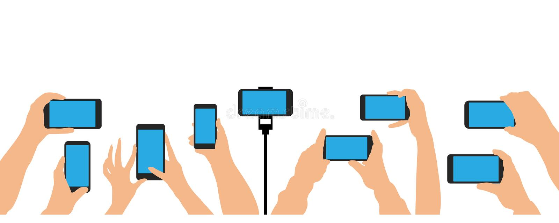 Händer som rymmer telefonen, smartphone Folkmassa av folkhändelsen, konsert, parti vektor illustrationer