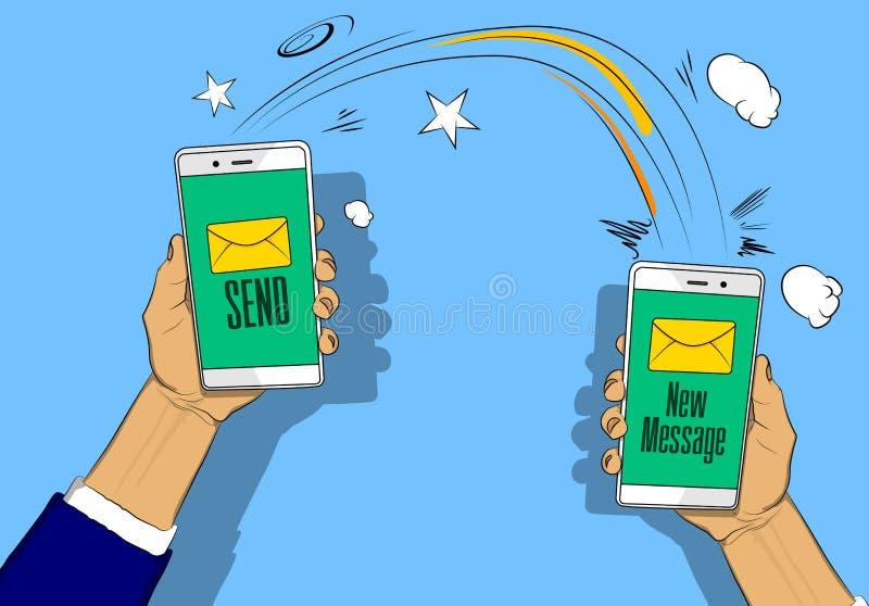 Händer som rymmer telefoner med bokstaven, överför och den nya meddelandeknappen på skärmen royaltyfri illustrationer