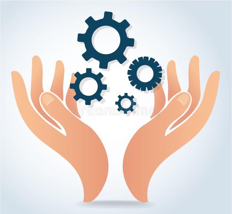 Händer som rymmer vektorn för symbol för kugghjuldesignlogo royaltyfri illustrationer