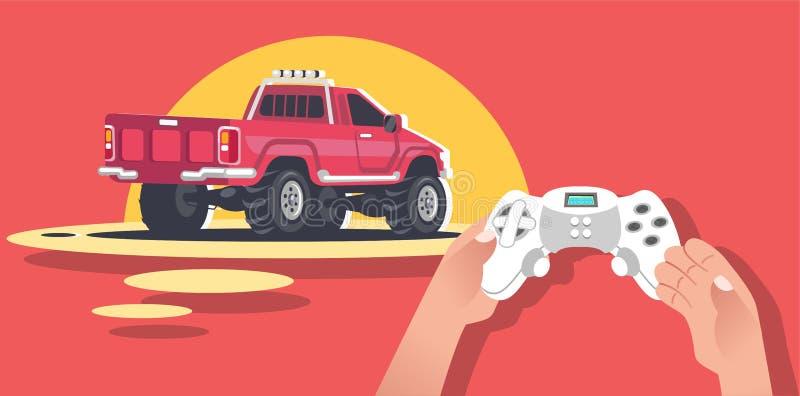 Händer som rymmer videospelkonsolen vektor illustrationer