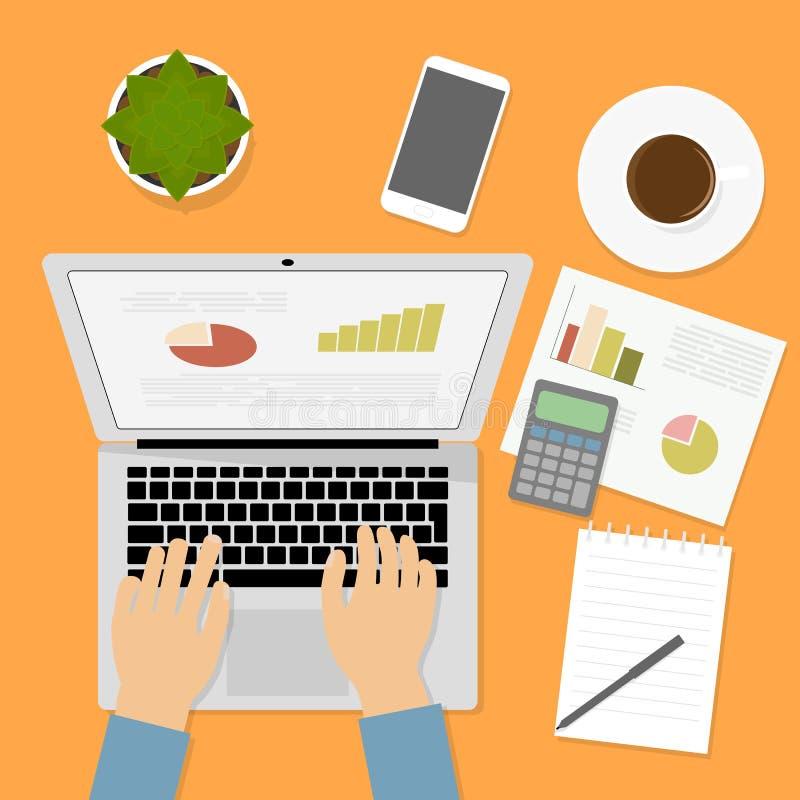 Händer som skriver text på datortangentbordet Graf diagram, räknemaskin arkivbild