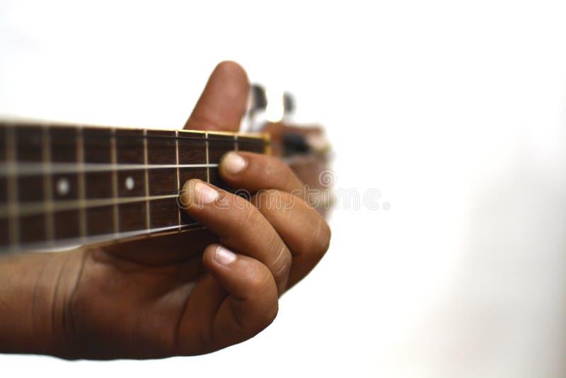 Händer som spelar ukulelet royaltyfri foto