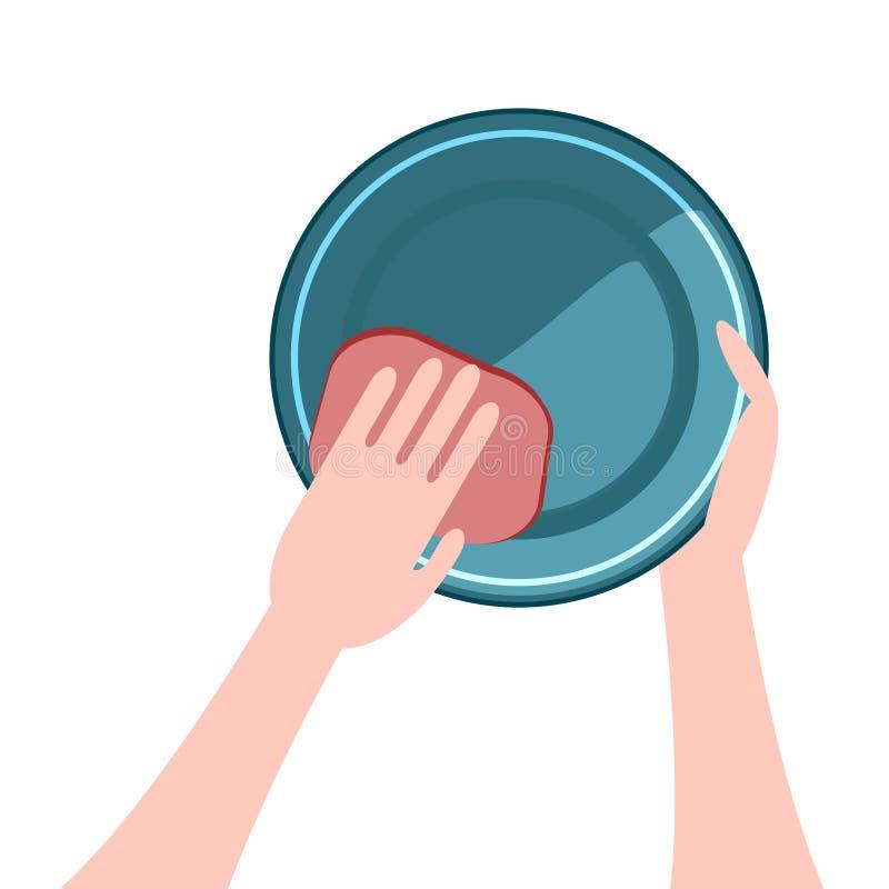 Händer som tvättar disken en platta royaltyfri illustrationer